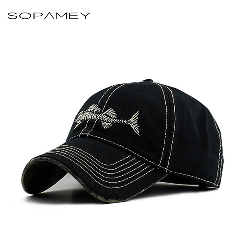 Baseball Caps Fish Bone Cap Embroidery Fishing Club Dad Hats for Men Women 2017 High Quality Washed Cotton Snapback Hats mens vintage beret hat sailing embroidery washed cotton paper boy cap