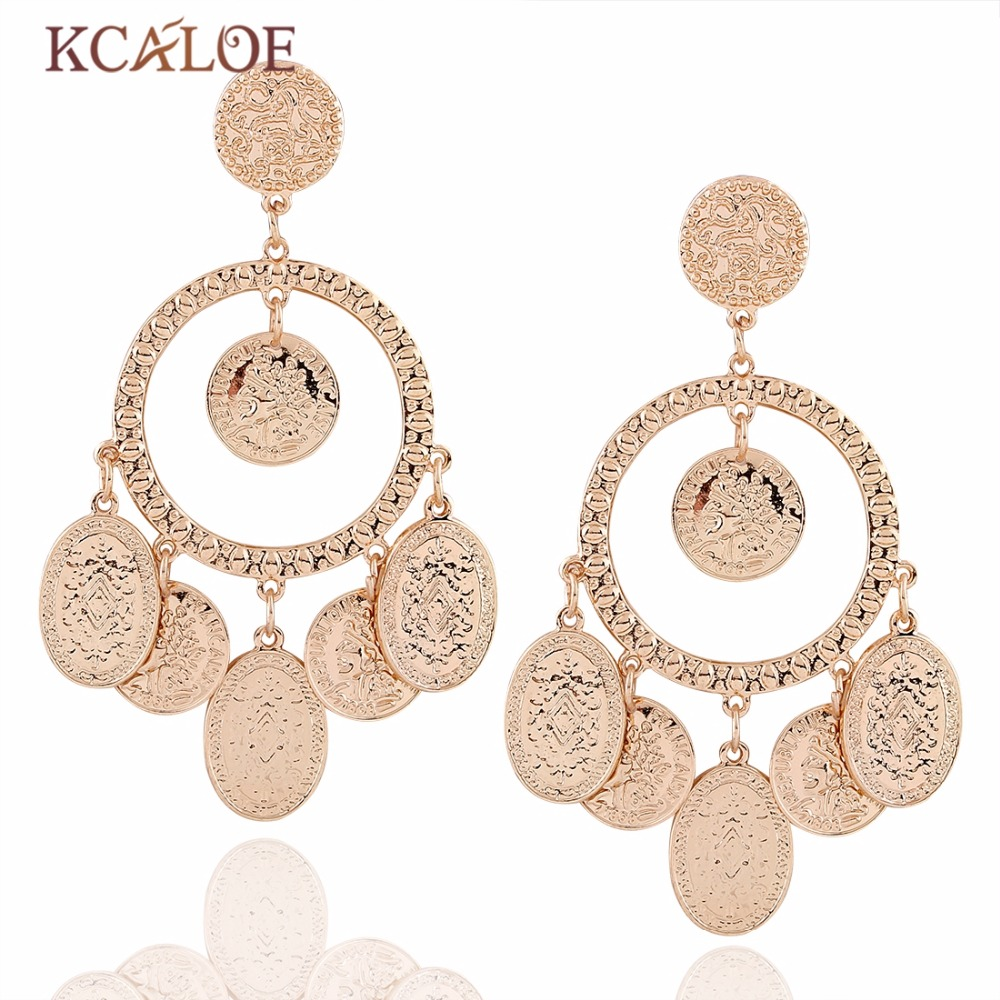 Exotic fashion jewelry - Kcaloe Ethnic Jewelry Exotic Circular Hollow Tassel Earring For Women Bohemia Vintage Earrings Big Gold Color