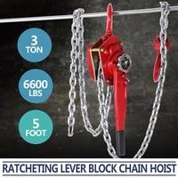3 Ton Lever Block Chain Hoist 5FT Ratchet Lever Chain Hoist Come Along Lift Puller (5ft)
