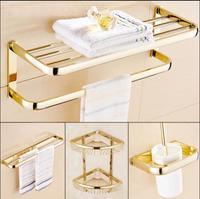 Brass Bathroom Accessories Set, Gold Square Toilet Brush Holder,Paper Holder,Towel Bar,Towel Holder,Hook bathroom Hardware set