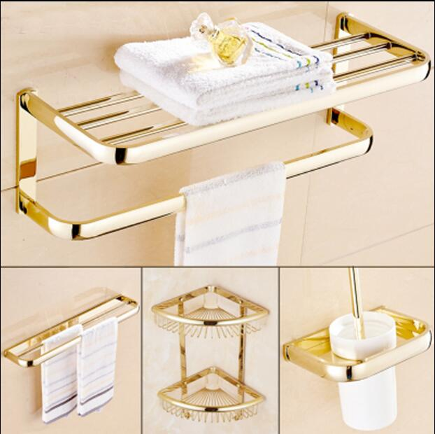 Brass Bathroom Accessories Set, Gold Square Toilet Brush Holder,Paper Holder,Towel Bar,Towel Holder,Hook bathroom Hardware set luxury bath accessory set golden bathroom accessories paper holder toilet brush holder single towel bar solid brass material
