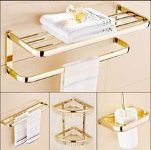 Латунный набор аксессуаров для ванной комнаты, Золотой квадратный держатель для туалетной щетки, держатель для бумаги, вешалка для полотенец, держатель для полотенец, крючок для ванной комнаты