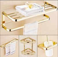 Brass Bathroom Accessories Set, Gold Square Toilet Brush Holder,Paper Holder,Towel Bar,Towel Holder,Hook bathroom Hardware set