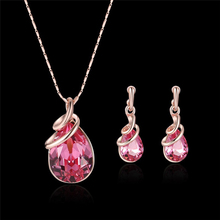 Fashion temperament rose red purple blue 3 color optional crystal inlaid necklace earrings ladies suit Valentines Day gift A563