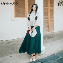 Ubei Classical Chinese style super fairy embroidered skirt 2019 cheongsam modified new ethnic three pieces sets