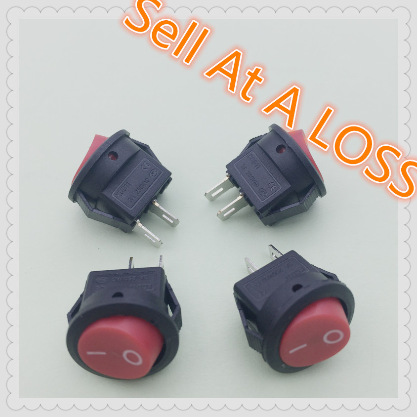 10pcs/lot 15mm RED SPST 2PIN On/Off G114 Round Boat Rocker Switch 3A/250V Car Dash Dashboard Truck RV ATV Home 15a 250vac 20a 125vac 3 way red pilot lamp three spst rocker switch 2 pcs