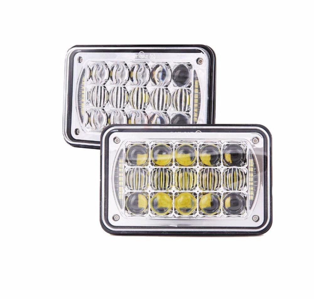 2pcs 45W 5D 4x6 LED Headlight Hi-Lo Beam Halo DRL For Jeep XJ H6014/H6054