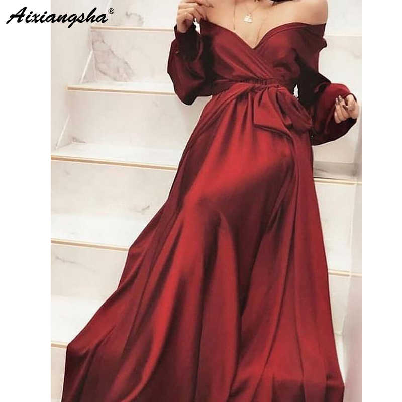 エレガントなロングブルゴーニュイブニングドレス 2019 サイドスプリットバックレスレディース結婚式のゲストドレス A ライン床の長さパーティーローブデ