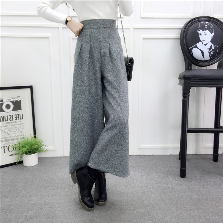 ZHISILAO Loose Trousers Women Winter Warm Wool Wide Leg Pants Maxi Plaid High Waist Trousers Elastic Thick Black Pants Casual 23