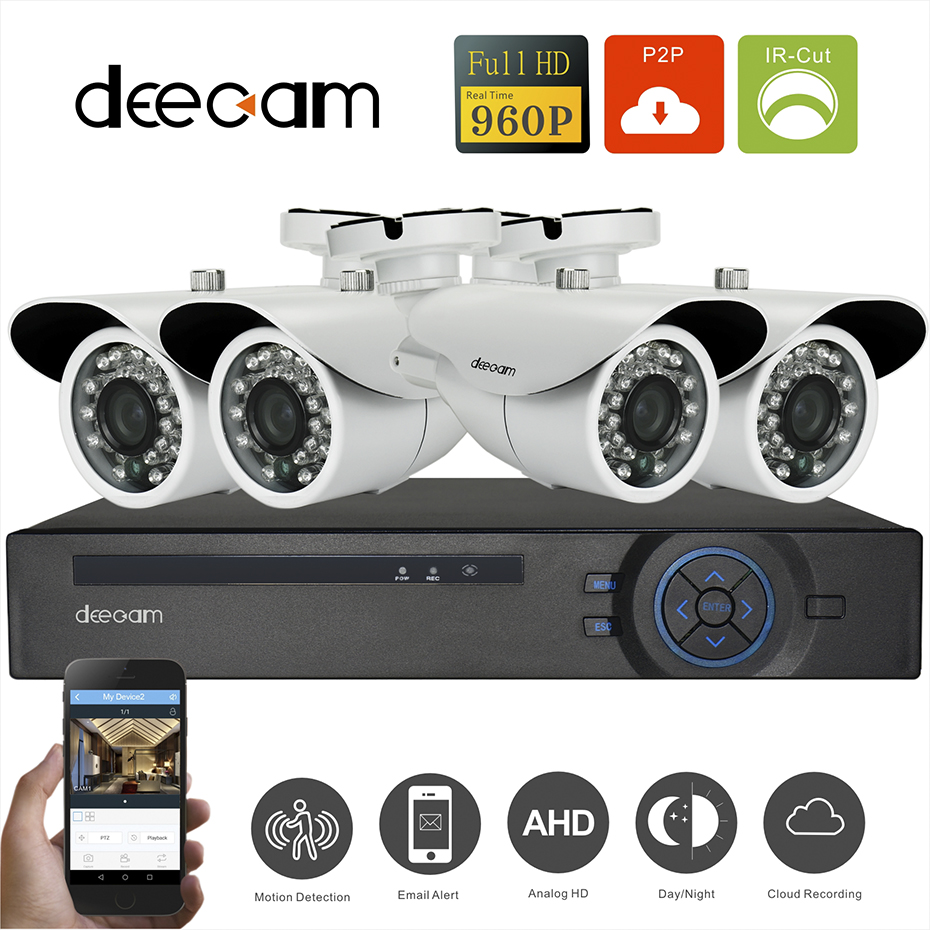 Deecam 4CH 1.3MP Bullet Security Camera System AHD CCTV Kit 3 in one DVR 3.6mm 960P HD IR-Cut Indoor Home Surveillance Kits deecam 4ch surveillance system ahd dvr kit 1200tvl cctv system 720p ahd camera 24pcs ir waterproof cctv camera system 1tb hdd