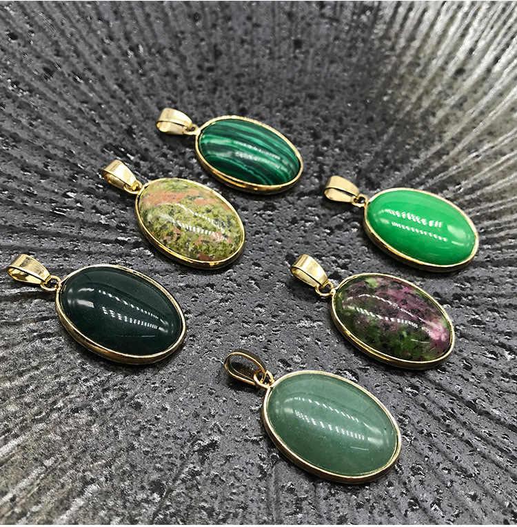 2019 Moda Oval Pingentes Geométricos Real Ametistas Naturais Ágatas Turquesas Quartzo Opala Pedra Pingente em forma de Colar para Mulheres