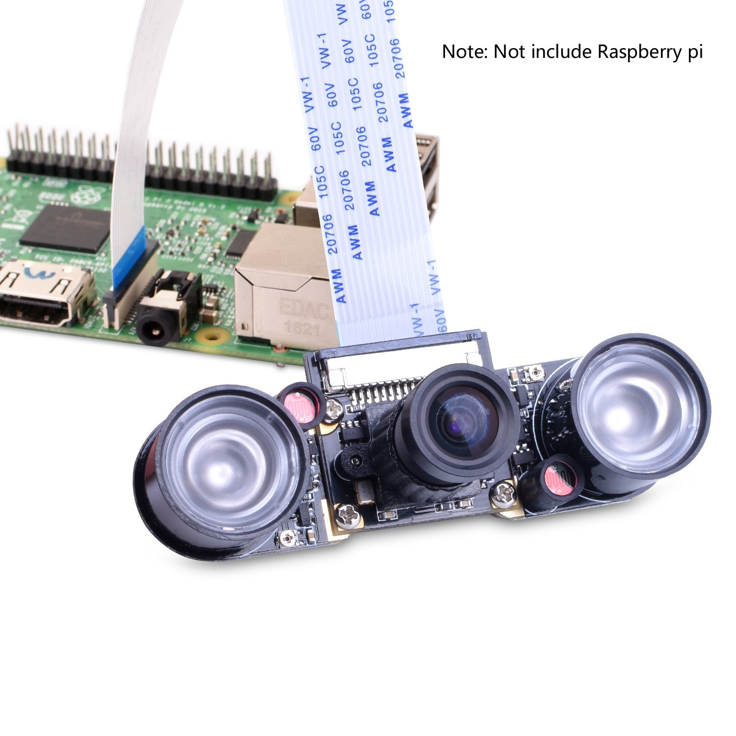 Miroad for Raspberry PI Camera Module 5MP 1080p OV5647 Sensor HD Video Webcam Supports Night Vision for All Vision SC15-1