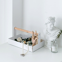 wood handle trays home decorating storage plate for dessert /perfume/makeup/jewelry food basket toiletries racks