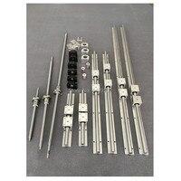 Бесплатная доставка SBR16 линейный рельс 6 компл. SBR16/SBR20 Линейный Направляющая + ballscrews ЮФУ 1605 ШВП + BK/BF12 + ЧПУ части