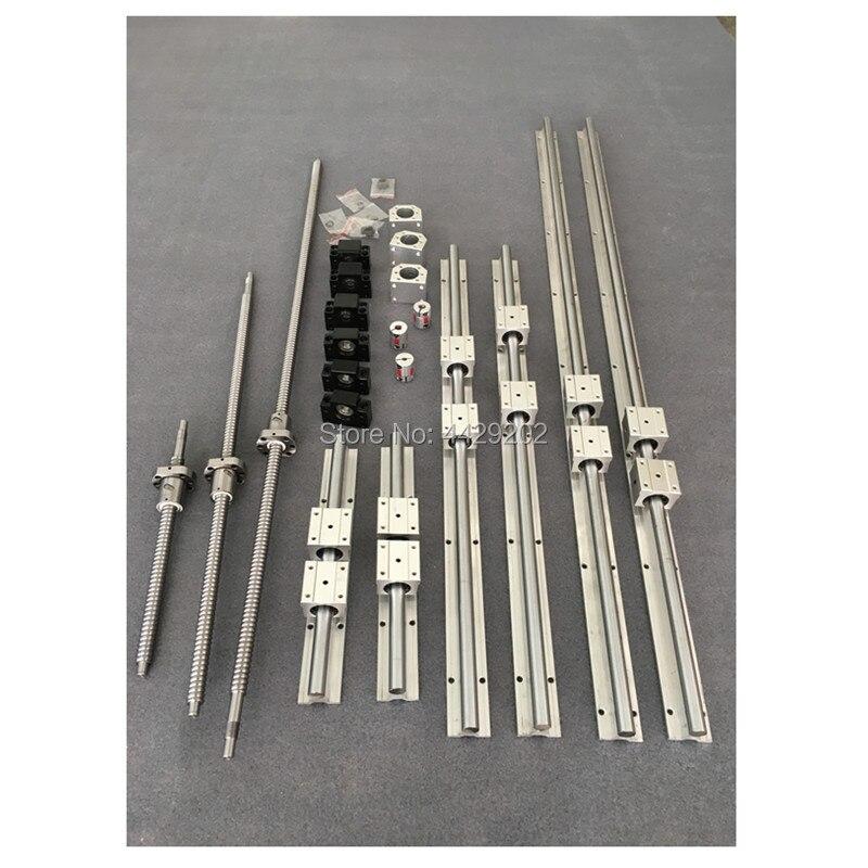 Livraison gratuite SBR16 rail linéaire 6 set SBR16/SBR20 Rail de guidage linéaire + vis à billes SFU 1605 vis à billes + BK/BF12 + pièces de CNC