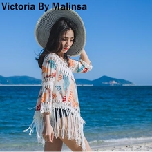 Women Tassel Blousas Cover ups Summer Spring Feathers Print Hollow Out Sexy 3f4e02bcb