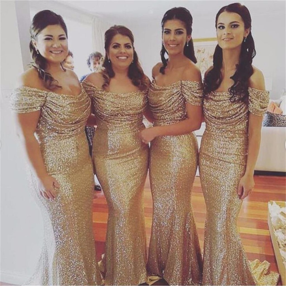 vestidos de madrinha New Fashion Sequin   Bridesmaid     Dresses   Mermaid Wedding Party Gown Sleeveless