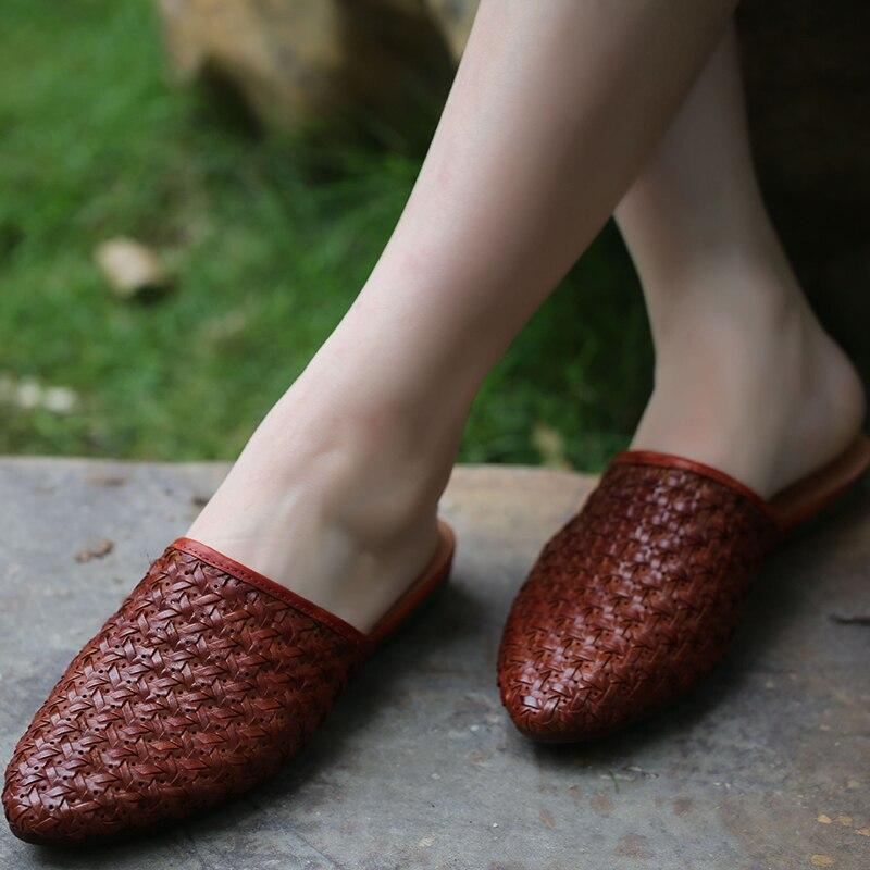 2019 été nouveauté orteils pointus chaussures pantoufles femmes à la main confortable doux en plein air dame diapositives décontracté