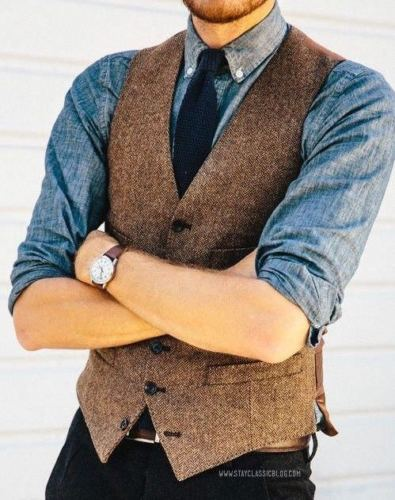 Vest Herringbone Tweed Waistcoat Wool British-Style Vintage Slim-Fit Brown Ab03 Custom-Made