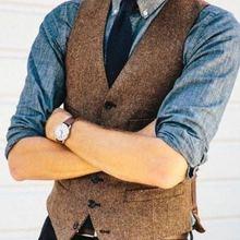 Винтажный коричневый твидовый шерстяной жилет в елочку в британском стиле, Приталенный жилет на заказ, жилет ab03