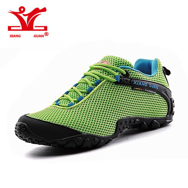 XIANG GUAN woman Hiking Shoes Men Mesh Breathable Trekking Boots Green Zapatillas Sports Climbing Shoe Outdoor Walking Sneakers camo breathable water resistant lace up high top mesh outdoor sports trekking hiking shoes men camping travel climbing sneakers