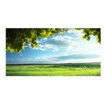 Pegatinas de pared adhesivas para cabecera de cama, árbol verde, cielo azul, decoración del hogar, bricolaje, sala de estar, habitación, novedad