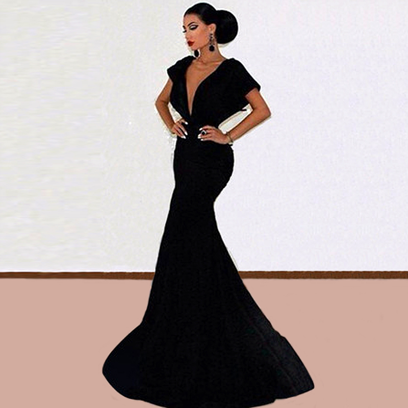 New Elegant Long Black Evening Gowns Mermaid Dress With Train Prom ...