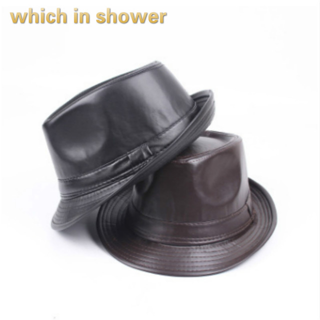 which in shower fashion PU fedoras casual faux leather top hat for man  solid band hat chapeau femme jazz cap vintage brim cap cd3ffed71cc