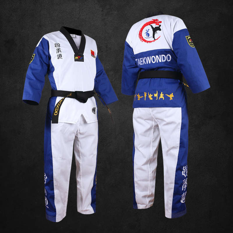 Other Fitness & Bodybuilding Products Top Quality Colored Taekwondo Uniform For Adult Children Teenagers Poomsae Dobok Red Blue Black Tae Kwon Do Clothes Wtf Approved