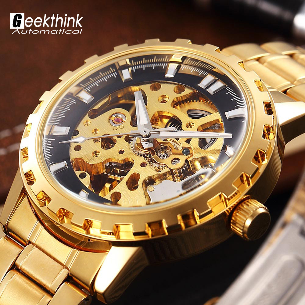 Luxury brand steel men male military clock automatic Skeleton mechanical Watch self wind fashion luxury quality gift Steampunk