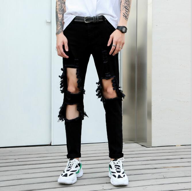 2019 nouveau style de cheveux personnalité trou lavé jeans version coréenne des hommes hip hop slim sauvage jeans costumes de chanteur