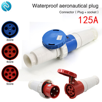 Aviation plug socket industrial waterproof connector 3 core 4 core 5 core 125A aviation butt plug