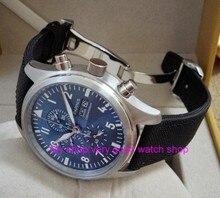 42mm PARNIS blue dial Japanese quartz movement men's watch Auto Date Multi-function quartz watches Bracelet Clasp