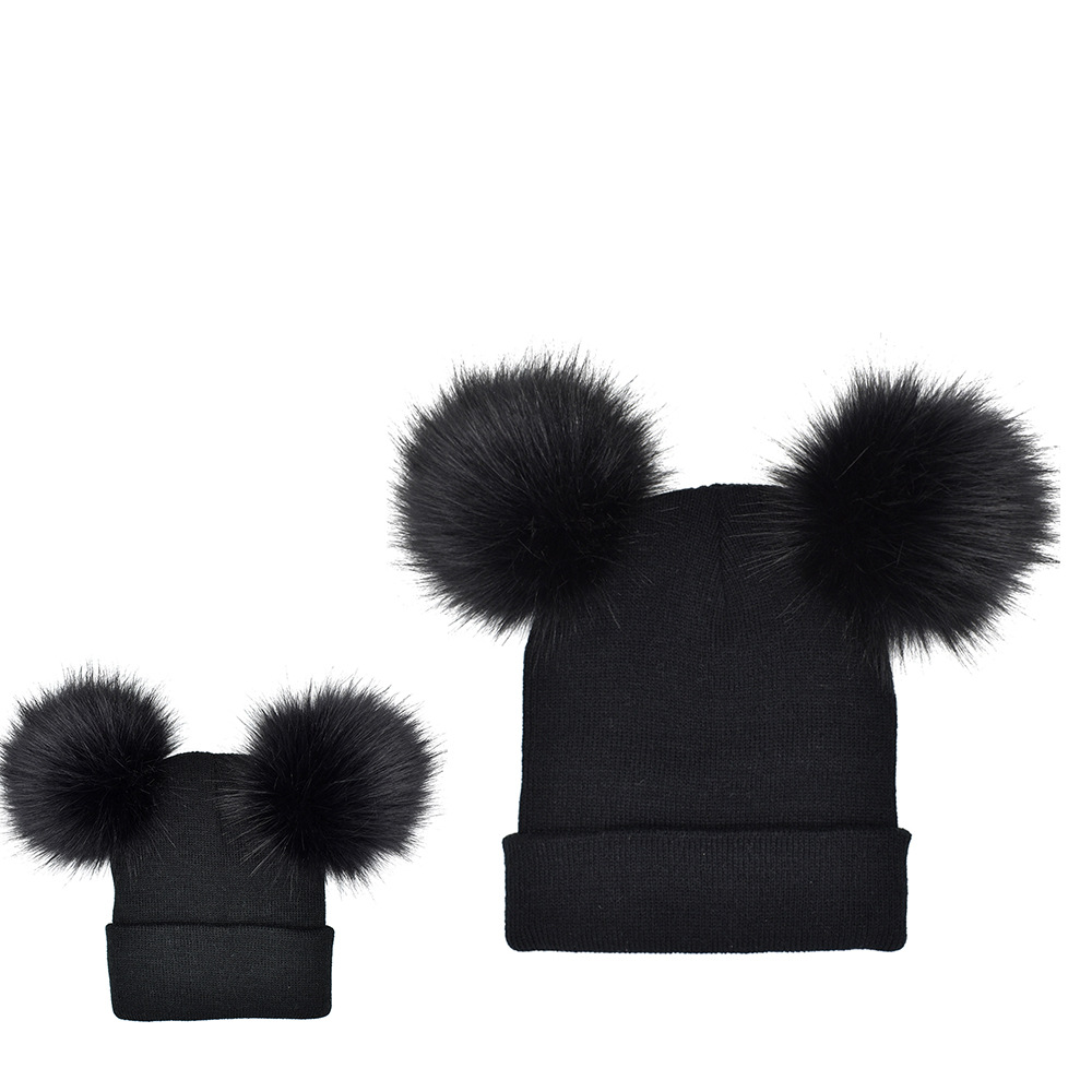 HTB1vvFRfv2H8KJjy1zkq6xr7pXaq 2PCS/Set Baby Mom Hats Double Ball Raccoon Faux Fur Pompom Family Matching Hats Winter Warm Kids Knitted Beanies Family Look
