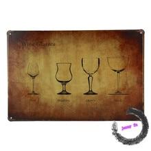 Wine Glasses Tin Signs Retro Metal Plaque Pub Wall Man Cave Decor D15