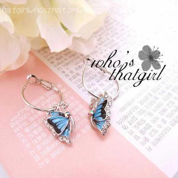 Gorąca sprzedaż moda wykwintne kryształowe oświadczenie żywy niebieski wisiorek z motylem duże srebrne kolczyki koła dla kobiet biżuteria Oorbellen