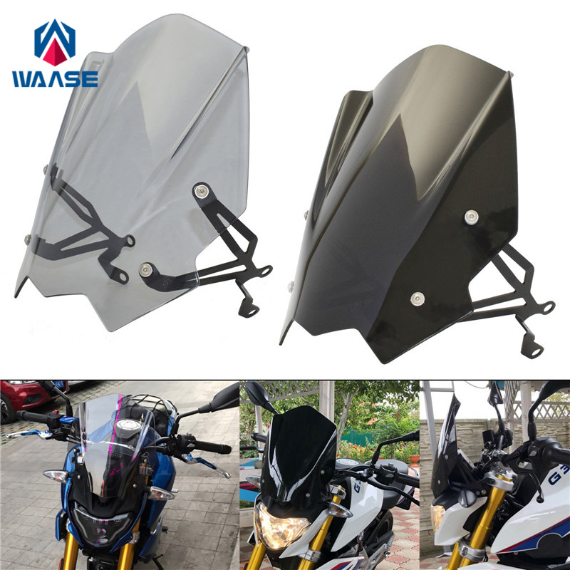 waase Motorcycle Windscreen Windshield Shield Screen With Bracket For BMW G310R 2017 2018 2019