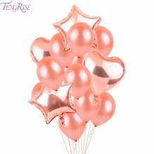 FENGRISE Rose Baloane de nunta de aur Sampanie Confetti Latex balon Romantic Ziua de nastere Party Decoratiuni Consumabile Valentine's Day