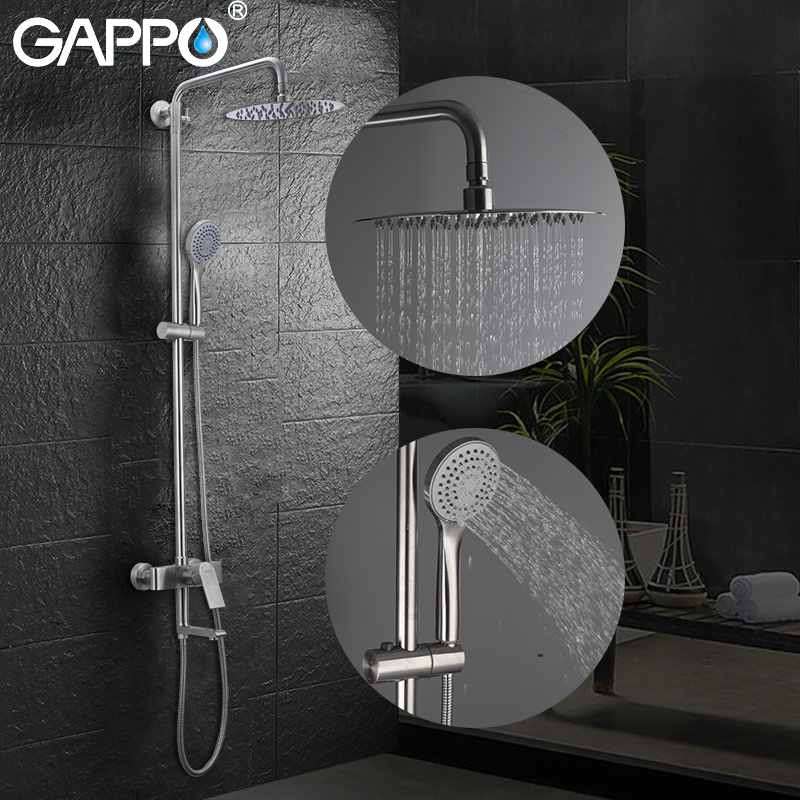 GAPPO Sanitary ware Suite do anheiro taps chrome wall mounted shower faucet stainless steel bathroom rainfall shower bathtub