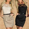 Mulheres lady dress ol fino sem mangas de renda vestidos sexy mini lápis party dress