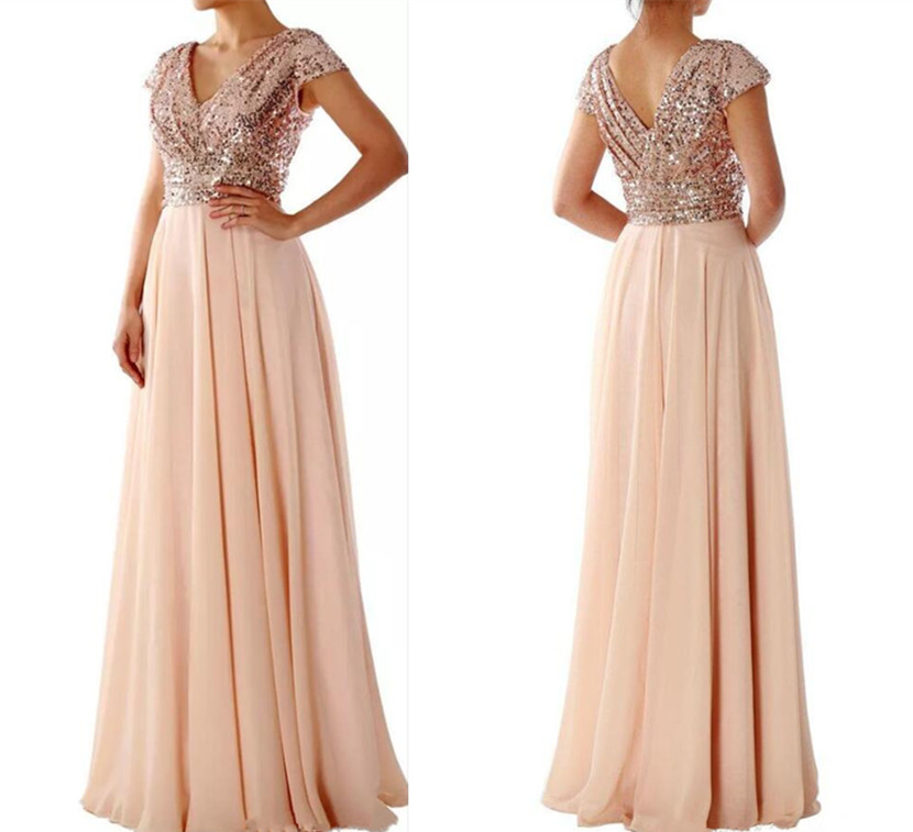 Hot Sale Cap Sleeves V Neck Sequined Chiffon Rose Gold   Bridesmaid     Dress   Long Wedding Party Gowns Custom Made Prom   Dress