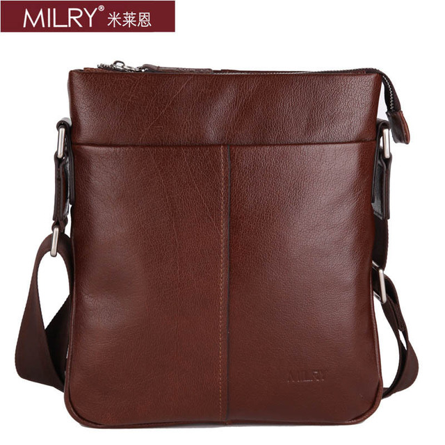 Free Shipping Italian Brand MILRY 100% Genuine Leather shoulder  Bag for men fashion business Messenger bag coffe S0138-2
