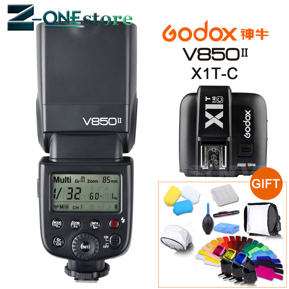 Godox V850II GN60 HSS 2.4G Wireless X System Flash Speedlite Li-ion battery + X1T-C Transmitter For Canon 800D 760D 200D 77D 60DGodox V850II GN60 HSS 2.4G Wireless X System Flash Speedlite Li-ion battery + X1T-C Transmitter For Canon 800D 760D 200D 77D 60D