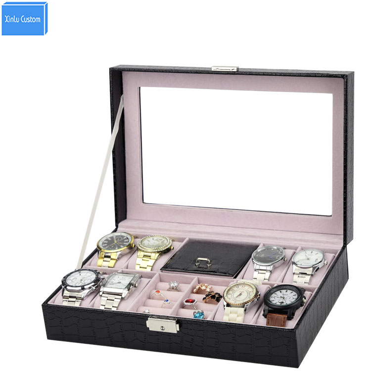 Black Croco Leather Gift Brand Hours Boxes Grids 8 Wristwatch Box Ring Holder Storage Display Case Alibaba Wholesale Box Seller jinbei em 35x140 grids soft box