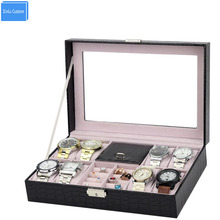 Black Croco Leather Gift Brand Hours Boxes Grids 8 Wristwatch Box Ring Holder Storage Display Case Alibaba Wholesale Box Seller  все цены