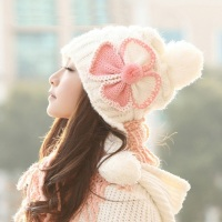 Cute Winter Hats For Girls Female Wind Defense Beanie Cap With Earmuffs Four Clover Pattern Wool