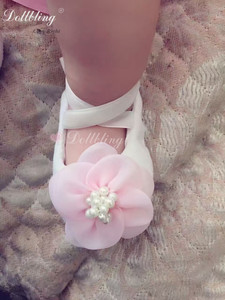 Baby Bling Boutique Pure Handmade Custom Shoes Pulsh Pink Flower Gorgeous Elegant Outfit Match Posh Cutest Baby Birthday Crib(China)