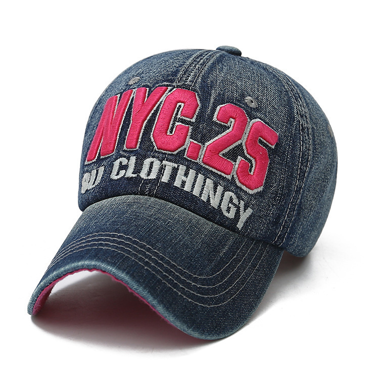 Denim Solid Blue Jeans <font><b>NYC</b></font> 25 Baseball Hat Cap Cowboy Dad Hat Curved Ball Cap Bu Clothingy Embroidered Hip Hop Hat image