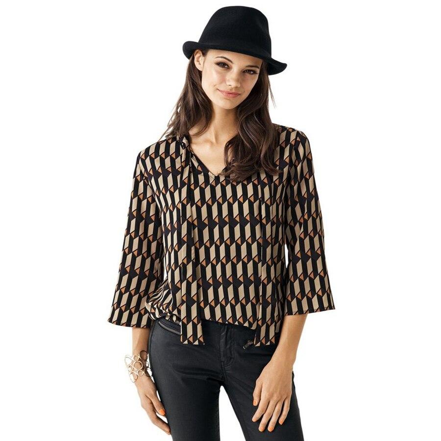 Feibushi moda 2017 tapas ocasionales de la gasa blusas de la camisa de tres cuar