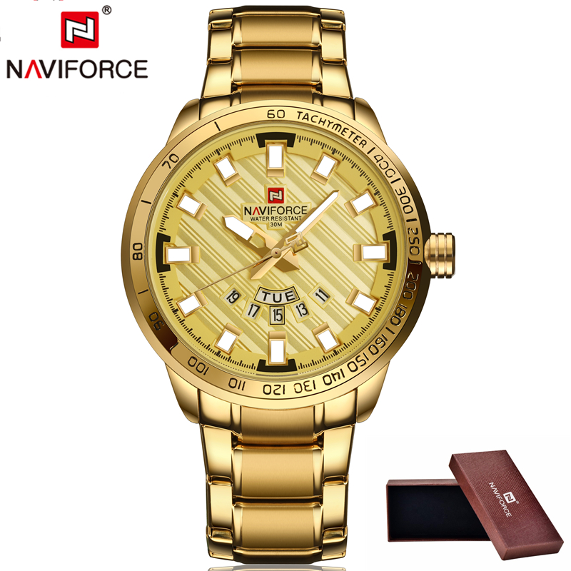 NAVIFORCE Luxury Brand Men Stainless Steel Gold Watch Men's Quartz Clock Man Sports Waterproof WristWatch Male relogio masculino ybotti luxury brand men stainless steel gold watch men s quartz clock man sports fashion dress wrist watches relogio masculino